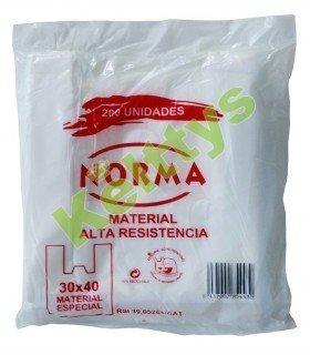 BOLSA CAMISETA BLANCA CON ASAS 30X40 (200 UND)