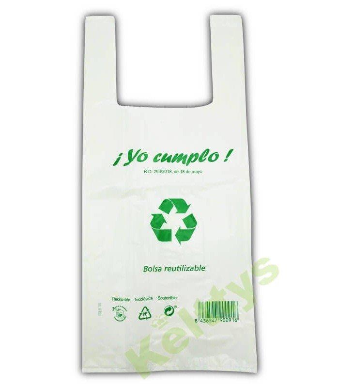 BOLSA CAMISETA BLANCA 35X50 70% RECICLADO (100 Unidades)